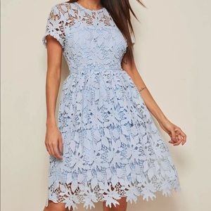 Guipure Lace Overlay Flare Dress